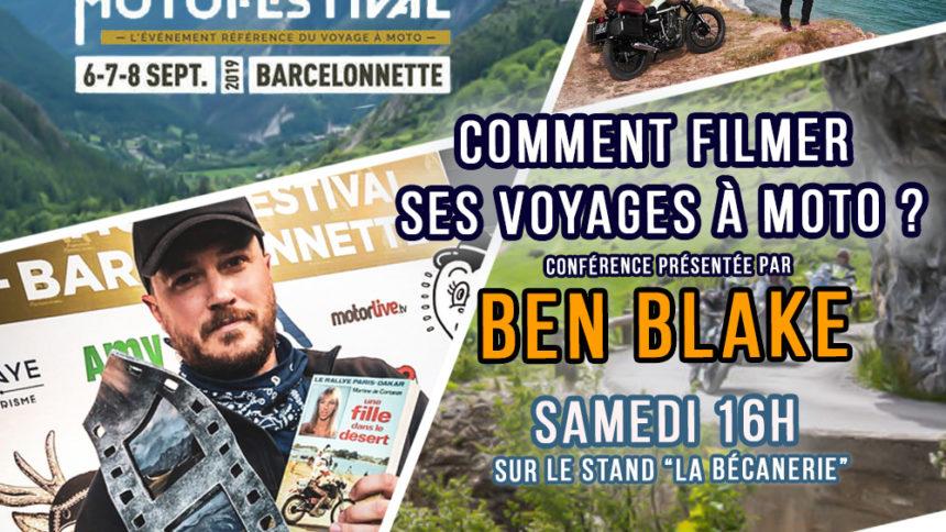 Ben Blake sur le stand de La Bécanerie à l'Alpes Aventure Motofestival